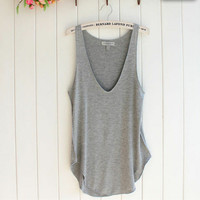 baggy grey v-neck tank top