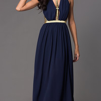 Sleeveless Floor Length Open Back Dress