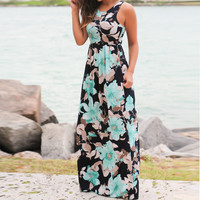 Women's Black with Blue Tropical Flowers Long Maxi Dress with Pockets