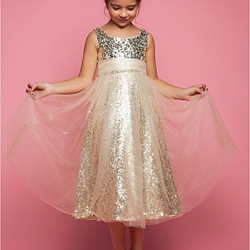 A-line Princess Jewel Tea-length Tulle Flower Girl Dress
