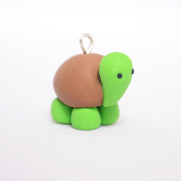 Cute Turtle / Kawaii Tortoise charm - Kawaii Polymer Clay Charms