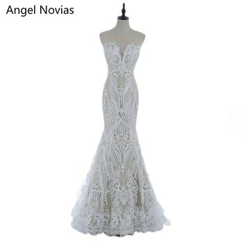 Angel Novias Long Bohemian Style Embroidery Lace Mermaid Wedding Dresses 2017 Boho Bridal Gowns Vestidos De Noiva De Luxo 2017