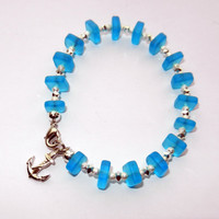 Blue Sea Glass Bracelet with Silver Anchor Charm