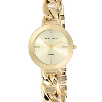 Anne Klein Ladies Gold-Tone and Diamond Curb Link Watch