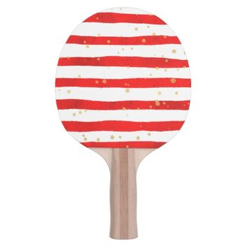 White Red Stripe Pattern Golden Dots Sport Ping-Pong Paddle