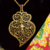 Portugal gold Viana heart folk jewelry necklace Portuguese traditional big heart pendant