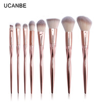 UCANBE Brand 8pcs Luxury Rose Gold Metal Makeup Brushes Set Grasp Cosmetic Professional Eyeshadow Contour Make up Brush Pinceis