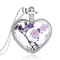 FM42 Purple Dried Flowers Heart Glass Silver-tone Locket Pendant Necklace with 60cm Bead Chain FN2054