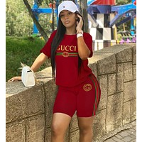 GUCCI Summer Popular Woman Casual Print Short Sleeve Shorts Suit Two Piece Sportswear Red