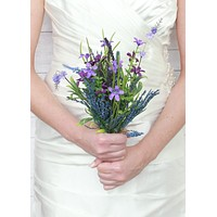 "Silk Lavender and Fern Bundle in Two Tone Purple<br>14"" Tall"