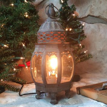 Rustic lamp lantern shabby chic lighting cottage light vintage antique style home decor photo prop christmas gift night stand