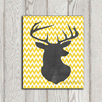 Deer head printable Yellow chevron print Chalkboard deer art Digital Home decor Wall art Stag silhouette Woodland animal INSTANT DOWNLOAD