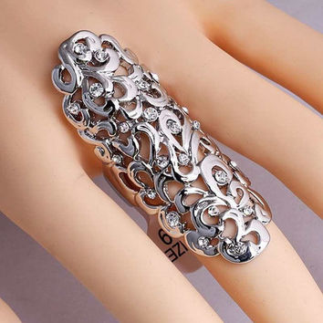 Women Fashion Jewelry Unisex Silver Gothic Punk Joint Armor Knuckle Long Double Full Finger Ring