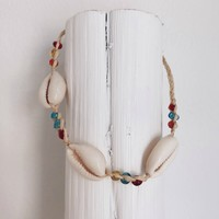 Naples Cowrie Seashell Beaded Anklet