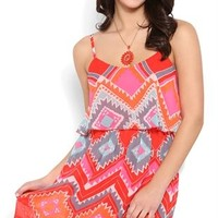 Diamond Tribal Print A Line Dress with Ruffle Bodice