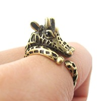 Detailed Giraffe Shaped Spotted Animal Wrap Ring in Brass | US Sizes 4 to 8.5