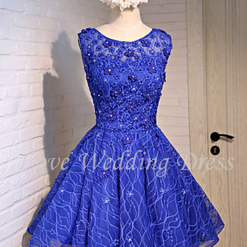 New Blue Scoop Short Prom Party Dress Flowers Beading Sexy Backless Ball Gown Cocktail Dresses Draped Vestido De Festa