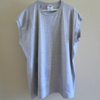 Gray Short Sleeve Tee Oversized 90's Vintage Large