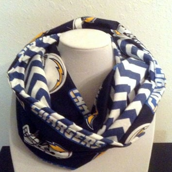 San Diego Chargers Infinity Scarf - Ready to Ship - NFL Blue Chevron Flannel Cowl - Women