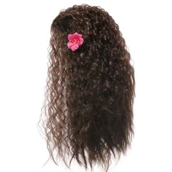 Cool Girls Cosplay Synthetic Hair Dress up Kids Princess Party Supply Women Black Long Wig Moana Wig Halloween Cosplay Wave WigAT_93_12