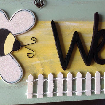 Welcome... Spring/Yellow Bumble Bees/White Picket Fence Hand Painted Wood Sign.Wall/Front Door /Classroom Decor