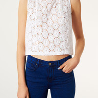 Cotton Circle Broderie Shell Top - Tops - Clothing - Topshop USA