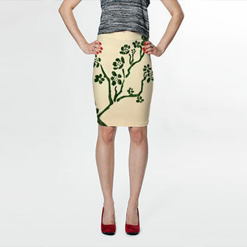 Flower Skirt - FREE shipping spandex skirt polyester spandex pencil skirts high waisted skirt green stencil print bodycon skirt