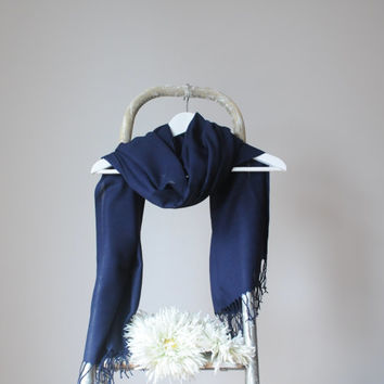 Dark Blue Shawl, Navy Blue Wrap, Wedding Shawl, Solid Color Cotton Scarf, Bridal Shawl, Bridesmaids Gift, Soft Lightweight Fine Pashmina