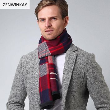 ZENWINKAY 01 Shawls and Scarves Cashmere Scarf Men Scarf Wool Scarf Pashmina Winter Warm Warp Male Plaid Foulard 180cm * 33cm