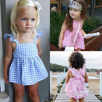 Princess-Baby-Girls-Clothes-Plaids-Ruffles-Tops-Dress-Briefs-Outfits-Set-Sunsuit