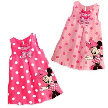 Minnie Mouse Baby Girls & Girls Polka Dot Sleeveless Dress with Bows