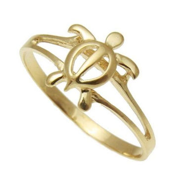 SOLID 14K YELLOW GOLD HAWAIIAN HONU TURTLE RING