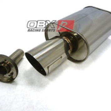 "OBX HR05 Universal Muffler 3"" 3.0"" Inlet Slant Cut Single Wall Tip & Silencer"