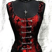 PIN BODICE - RED ON BLACK TAPESTRY