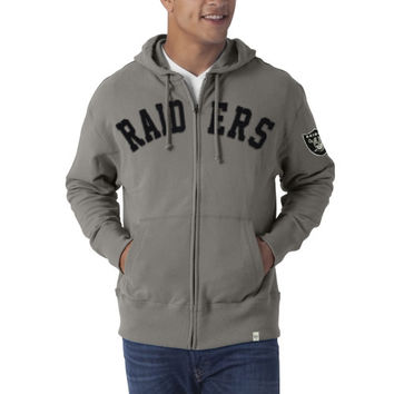 Oakland Raiders Strikers French Terry Full Zip Hoodie Sweatshirt - Gray