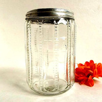 Antque Early 1900s Sneath glass Hoosier cabinet tea jar canister zipper pattern old kitchen storage container Cottage Shabby Farmhouse
