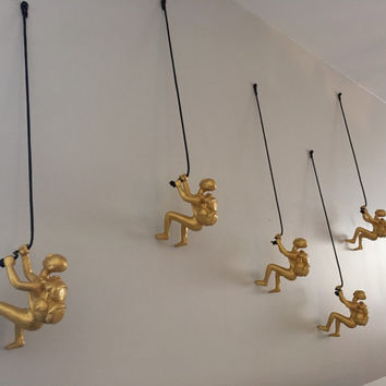 5 Piece Climbing Sculpture Wall Art Gift For Home Decor Interior Design Rock Climbing Man Contemporary Artwork GOLD