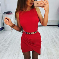 Winter Dress Sleeveless Irregular Waistband Women's Fashion One Piece Dress [6326005377]