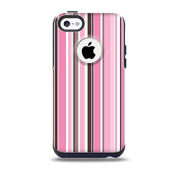 The Pink and Brown Fashion Stripes Skin for the iPhone 5c OtterBox Commuter Case