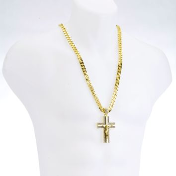 "Jewelry Kay style NEW G/S Plated CROSS Jesus Pendant 30"" Heavy Cuban Chain Necklace Set HC 6010"