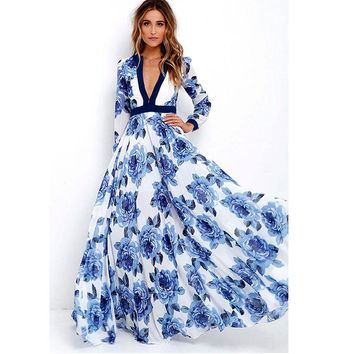 2018 NEW Spring Womens Long Boho Beach Dress Summer Sexy Lady Deep V-Neck Long Sleeve Floral Printed Maxi Party Dresses #Ni