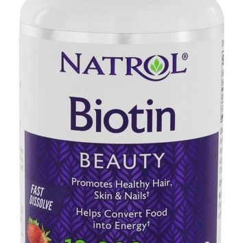 NATROL: Biotin Fast Dissolve Natural Strawberry Flavor 10,000 mcg, 60 Tablets