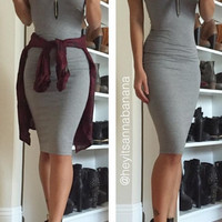Advanced Knit Midi Dress - Grey- FINAL SALE