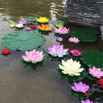 10-Count Artificial Floating Foam Lotus Flower