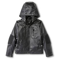 Boys' Hooded Faux Leather Moto Jacket : Target