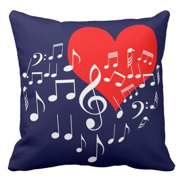 Singing Heart one-of-a-kind Throw Pillow
