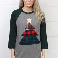 Plaid Christmas Tree Appliqué Raglan {Green}