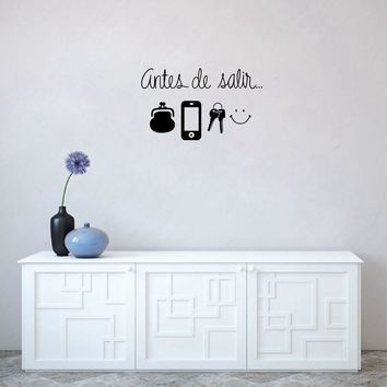Spanish Art Wall Stickers Daily Before Leaving Reminder Vinyl Wall Decals for Living Room Home Decor House Decoration