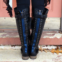 Savannah Nights Black Studded Blue Zipper Boots