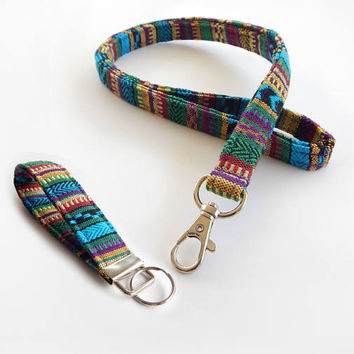 Woven Lanyard Set / Boho Keychain / Indian Blanket Inspired / Bohemian / Key Fob / Turquoise / Woven Stripe Fabric / ID Badge Holder / Green